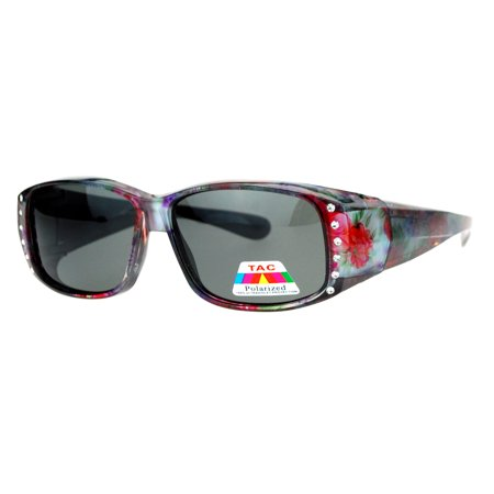 - SA106 Rhinestone Womens Floral Fitover OTG 57mm Sunglasses Purple