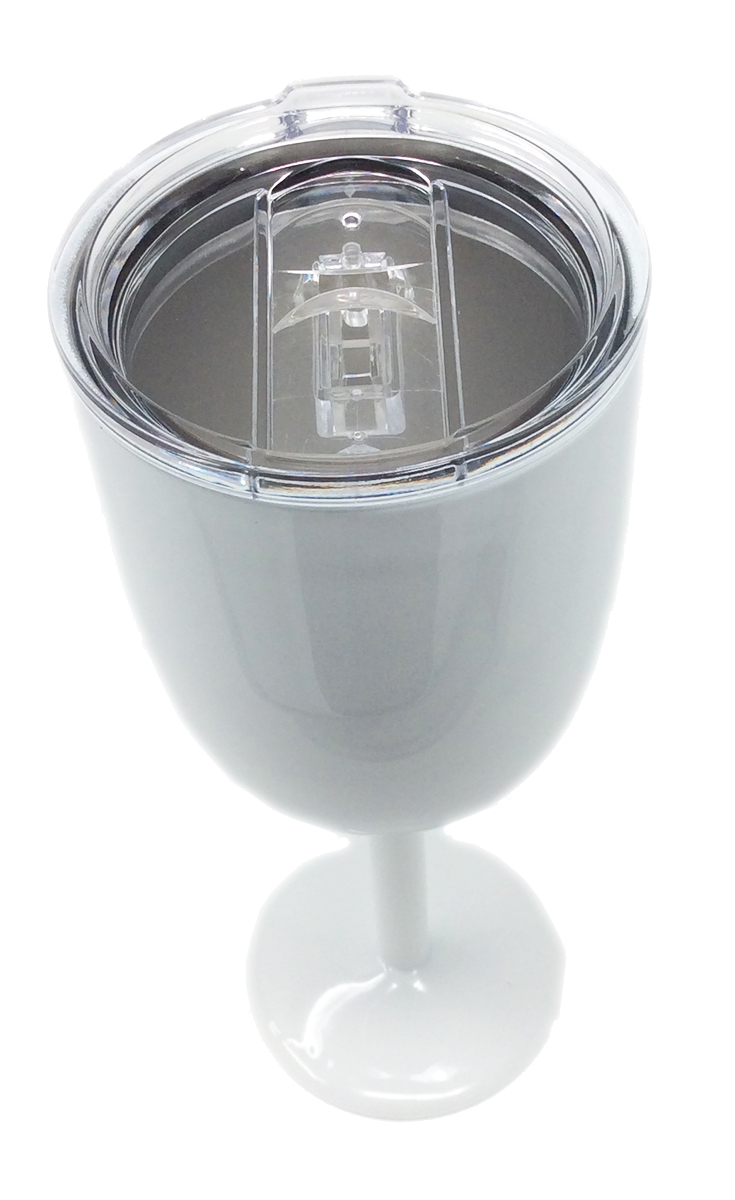 TSC Powder Coated Stainless Steel Double Walled Wine Glass With Slider Lid Baby