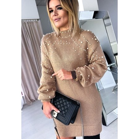 Women Autumn Winter Sweater Dress Casual Lantern Sleeve Knitted Dress