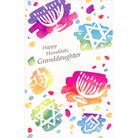 Freedom Greetings Color Splash Menorahs, Stars & Dreidels: Granddaughter Hanukkah Card