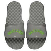 Oakland Athletics ISlide Cooperstown Wordmark Logo Slide Sandals - Gray