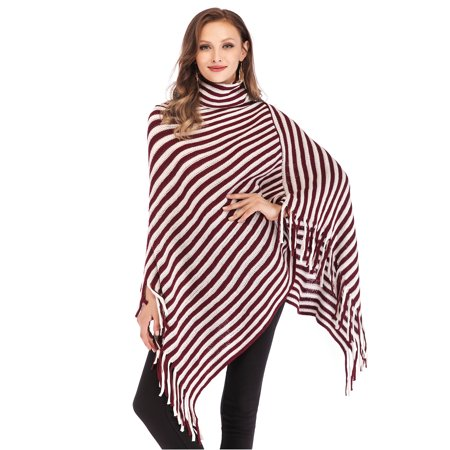 LELINTA Women's Stripe Knitted High Neck Sweater Tassel Poncho Pullovers Irregular Hem Sweater Wrap Top Black/Red ()