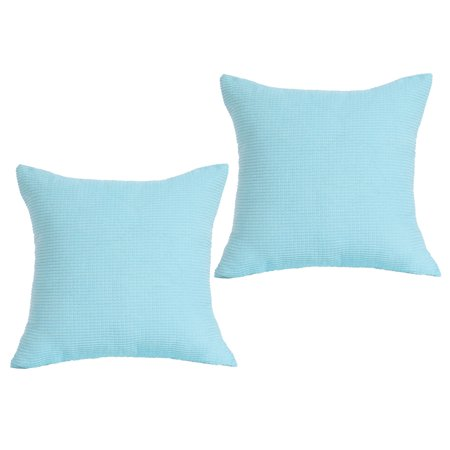 Decorative Square Throw Corduroy Cushion Cover 18 x 18 Inch Sky Blue Set of 2