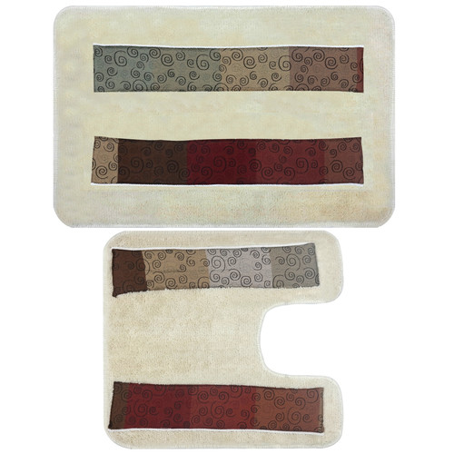 Sweet Home Collection Miramar 2 Piece Banded Bath Rug Set