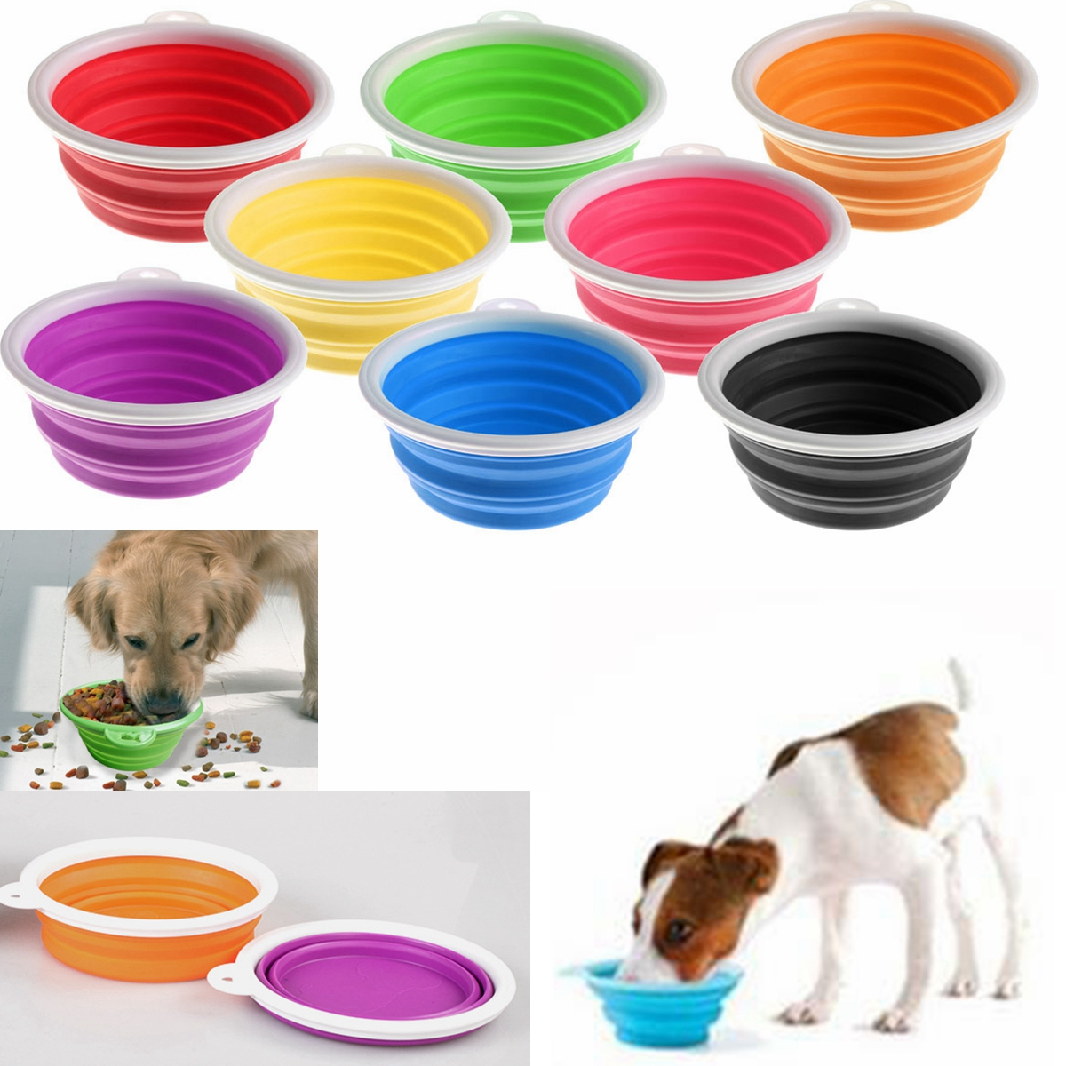 Collapsible Silicone Pet Bowl,Jeteven Expandable Cup Dish For Pet Dog/Cat Food Water Feeding Portable Travel Bowl
