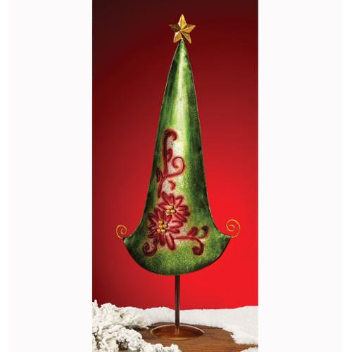 Pack of 2 Hand Sculpted Metal Unlit Table Christmas Trees with Poinsettias 28""