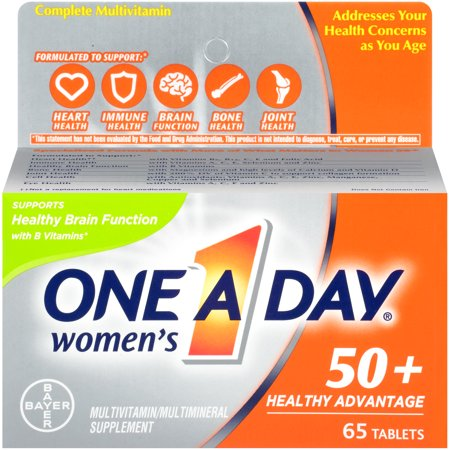 One A Day Women's 50+ Healthy Advantage Multivitamins, Supplement with Vitamins A, C, E, B1, B2, B6, B12, Vitamin D and Calcium, 65