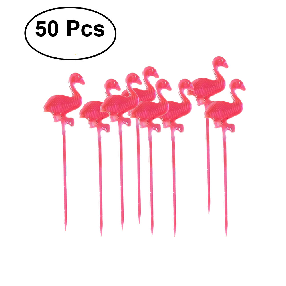 50 Pcs Colorful Flamingo Picks Decoration for Cake Dessert Party Supplies (Red)
