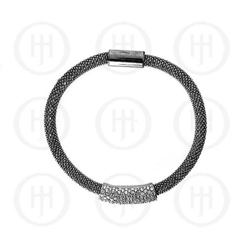 Doma Jewellery MAS05589 Sterling Silver -Magnetic Tri-Colour CZ Bracelet -MB-1007-B Black Rho