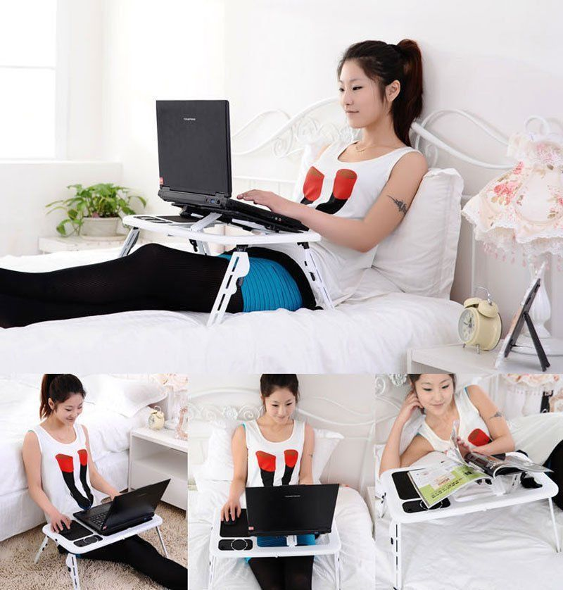 Adjustable Foldable Laptop Desk Table with Cooling Fan Stand Portable Bed US TR