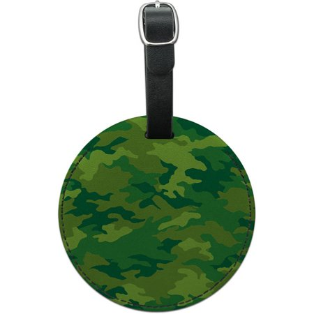 Camouflage Print Green Round Leather Luggage ID Tag Suitcase Carry-On