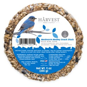 Harvest Seed & Supply Mealworm Medley Snack Stack Wild Bird Food, Circular Seed Block, 9 oz.