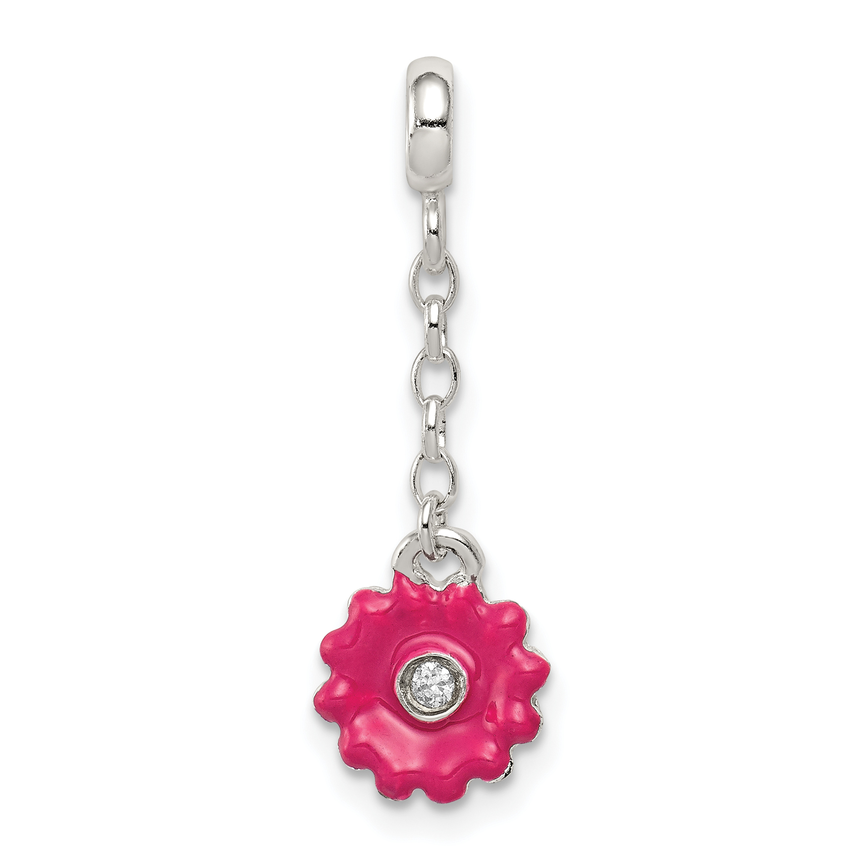 925 Sterling Silver Pink Enamel Flower Cubic Zirconia Cz 1/2in Dangle Enhancer Necklace Pendant Charm Gardening Fine Jewelry Gifts For Women For Her - image 2 of 2