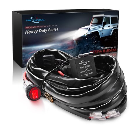MICTUNING HD+ 12 Gauge 600W LED Light Bar Wiring Harness with 3 Free Fuses 60Amp Relay Waterproof - Front Lighting Wiring Harness