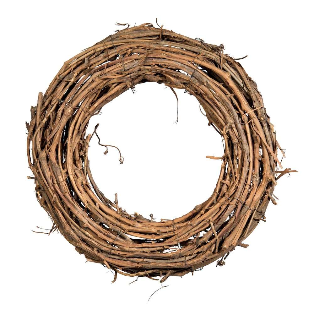 Shine Company 16 inch by 3.5 inch depth Handcrafted Natural Grapevine Wreath, 2 Pack