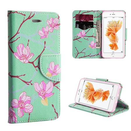 Insten Japanese Blossom Stand Folio Flip Leather [Card Slot] Wallet Flap Pouch Case Cover For Apple iPhone 8 Plus / iPhone 7 Plus - Green/Pink Case Made Japan Model