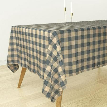 Tablecloth Buffalo Plaid Earthy Blue Blue Plaid Mountain Animals Cotton Sateen](Blue Plaid Tablecloth)