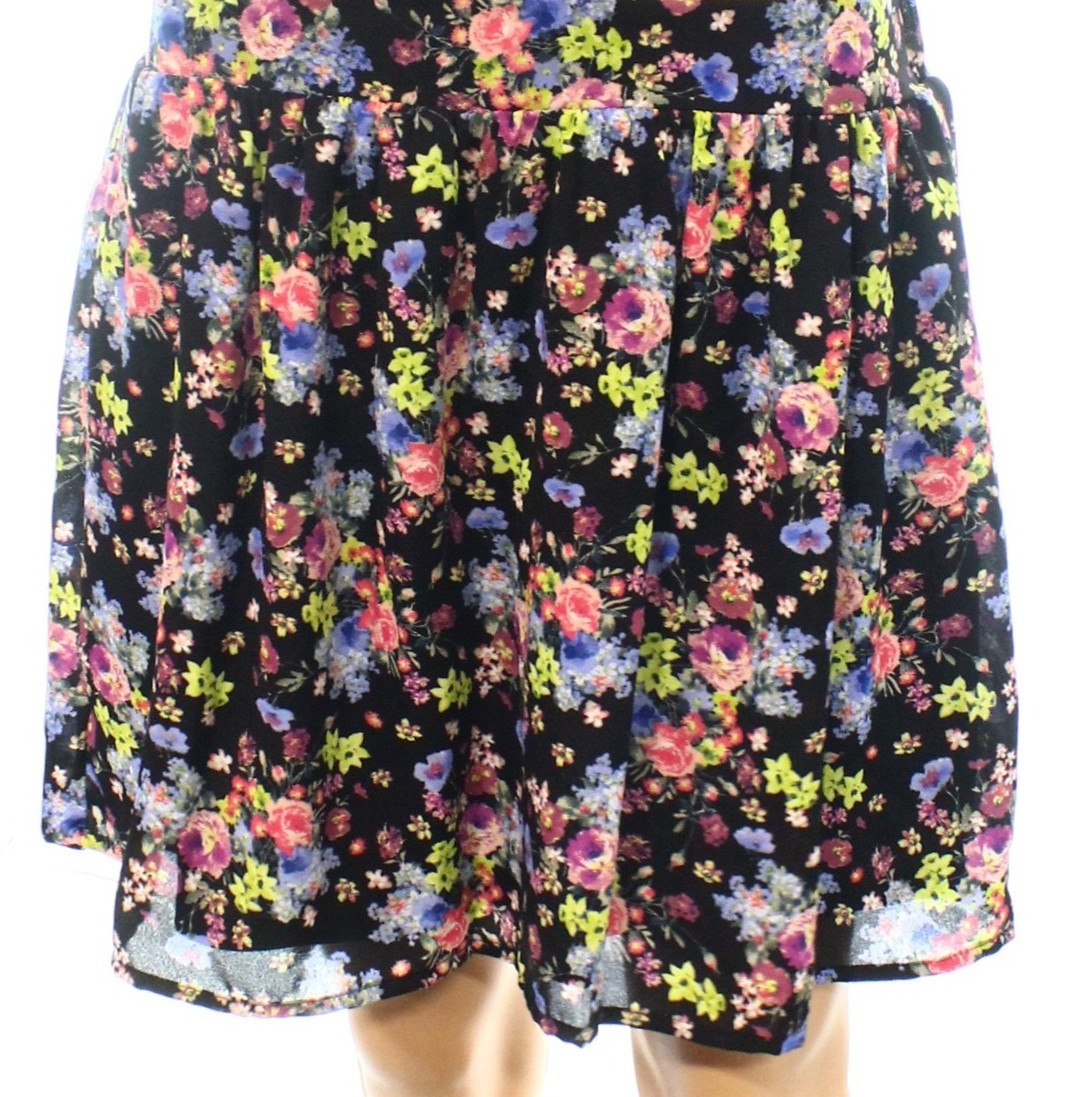 Socialite NEW Black Women's Size Large L Mini Gathered Floral-Printed Skirt