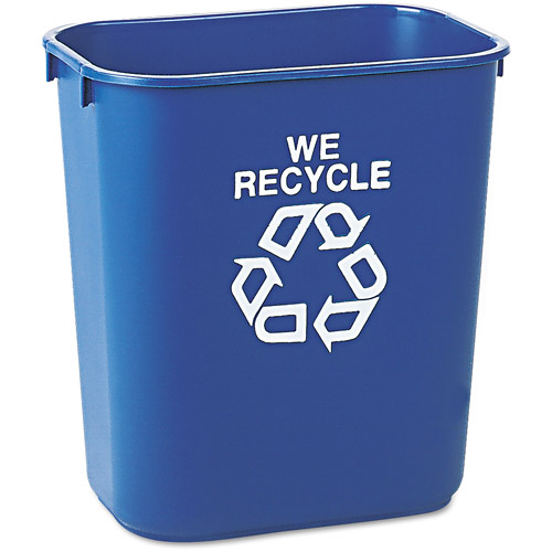 Rubbermaid Commercial Rectangular Blue Plastic Small Deskside Recycling Container, 13 qt