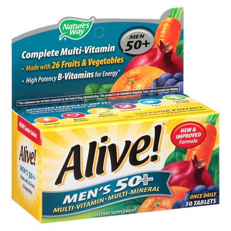 Natures Way Alive! Mens 50+ Vitamins Multivitamin Supplement Tablets 50
