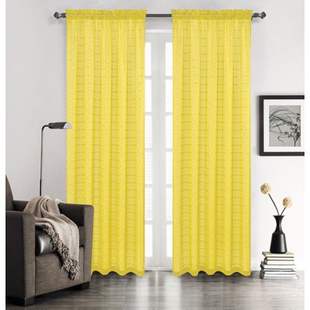 Set of 2 Lily Plaid Sheer Curtains, Rod Pocket Top, Yellow
