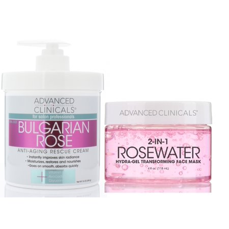 Advanced Clinicals Bulgarian Rose Cream & Rosewater Gel Mask set. Anti-aging skin care set features moisturizing cream w/ Bulgarian rose for face and body & Gel mask for wrinkles and fine (Best Homemade Face Mask For Wrinkles)