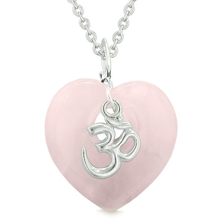 Ancient Tibetan OM Inspirational Amulet Puffy Magic Heart Rose Quartz Pendant 18 inch Necklace Handmade Puffy Heart
