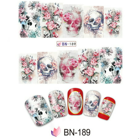 10pcs Halloween Skull Nail Wraps Medical Grade Stickers Set Adhesive Polish Foils Nail Art Tool Safe&Non-toxic, Not Easy to Fall off](Easy Halloween Nails For Kids)
