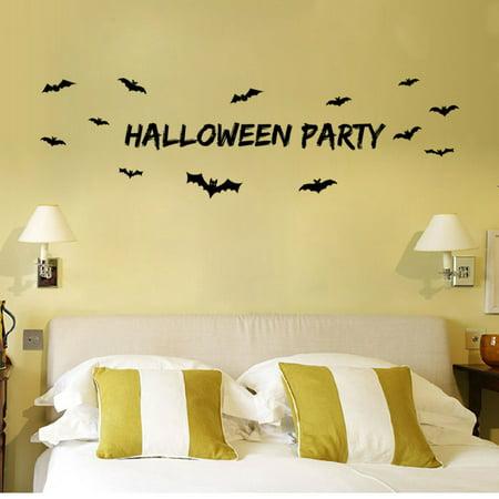 Black Bat Happy Halloween Wall Stickers Removable Nursery DIY Decor Mural