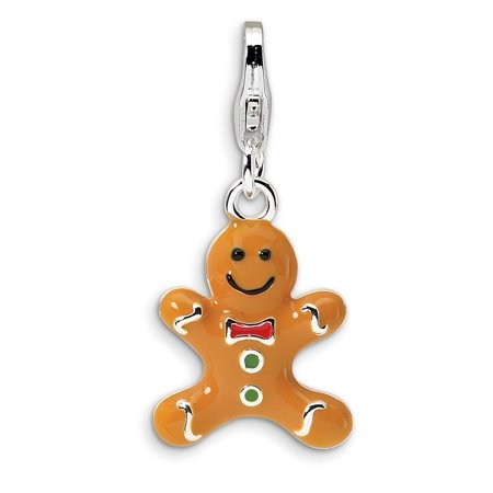 Sterling Silver 3-D Enameled Gingerbread Cookie w/Lobster Clasp Charm Pendant