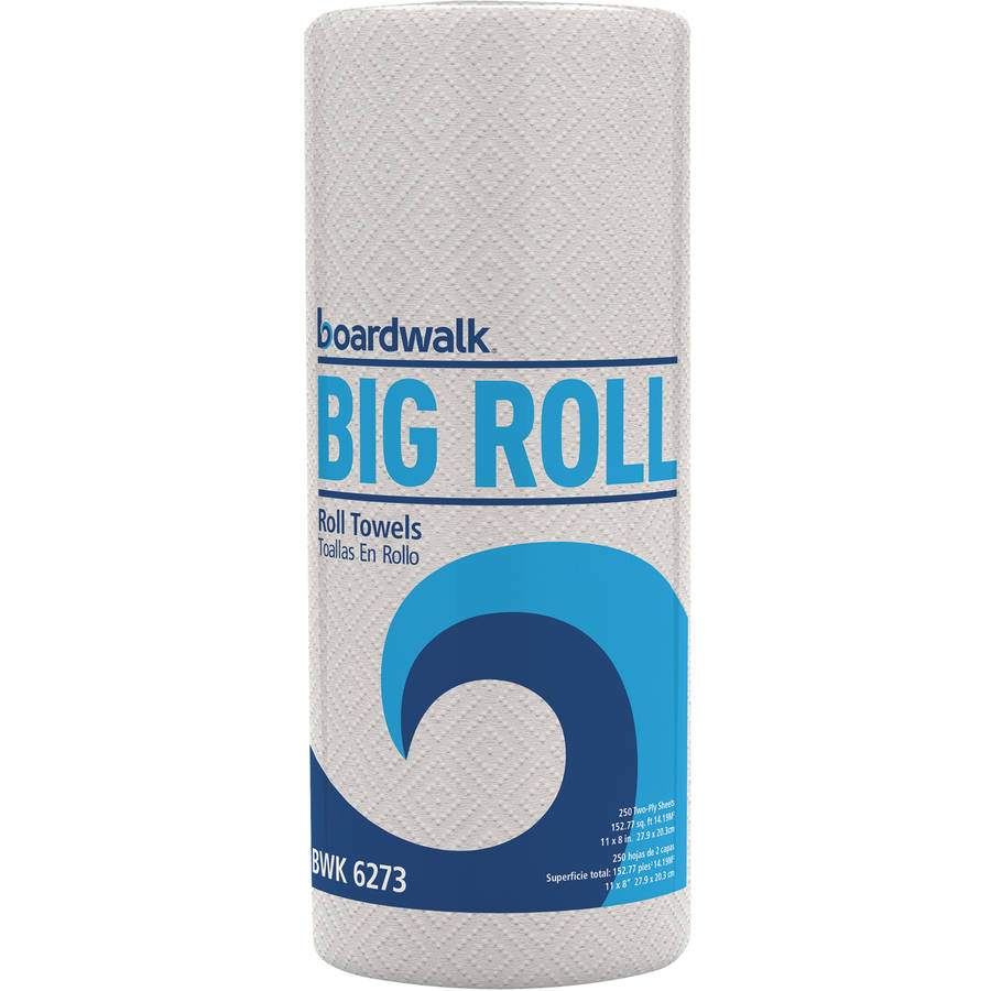 Boardwalk 2-Ply White Perforated Paper Towel, Big Roll, 250 Sheets, (Pack of 12 Rolls)