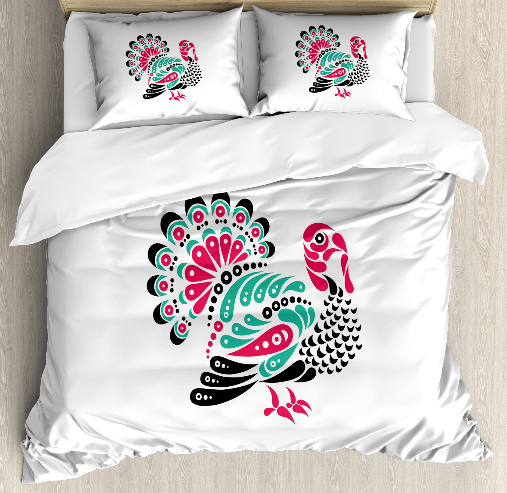 Turkey Queen Size Duvet Cover Set, Thanksgiving Themed Animal Design with Paisleys Ornamental Elements, Decorative 3 Piece Bedding Set with 2 Pillow Shams, Dark Coral Seafoam Black, by Ambesonne