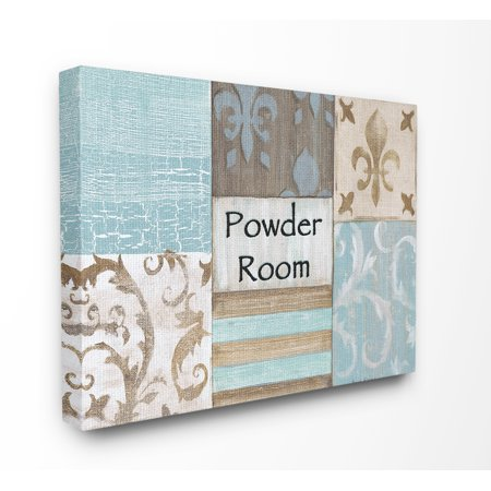 The Stupell Home Decor Collection Fleur de Lis Powder Room Blue, Brown and Beige Bathroom XXL Stretched Canvas Wall Art, 30 x 1.5 x 40