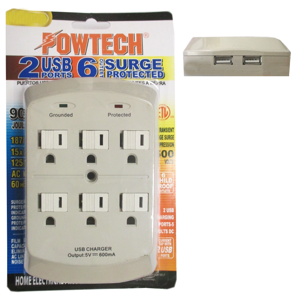Surge Protector Wall Tap Adapter 6 Outlet Child Proof 2 Dual USB Port ETL Listed