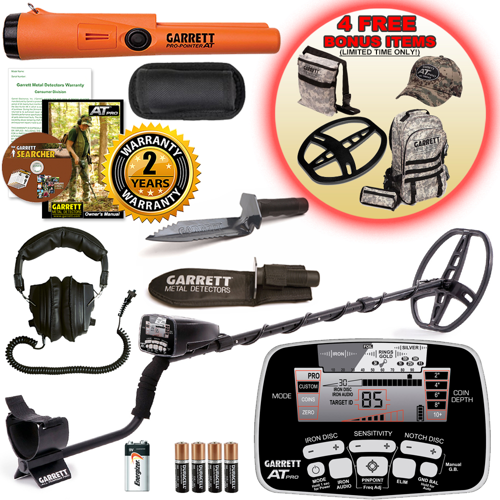 Garrett AT Pro Metal Detector Bonus Pack with ProPointer AT and Edge Digger by