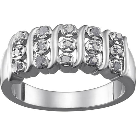 Rhodium Plated Diamond Accent Swirl Ring