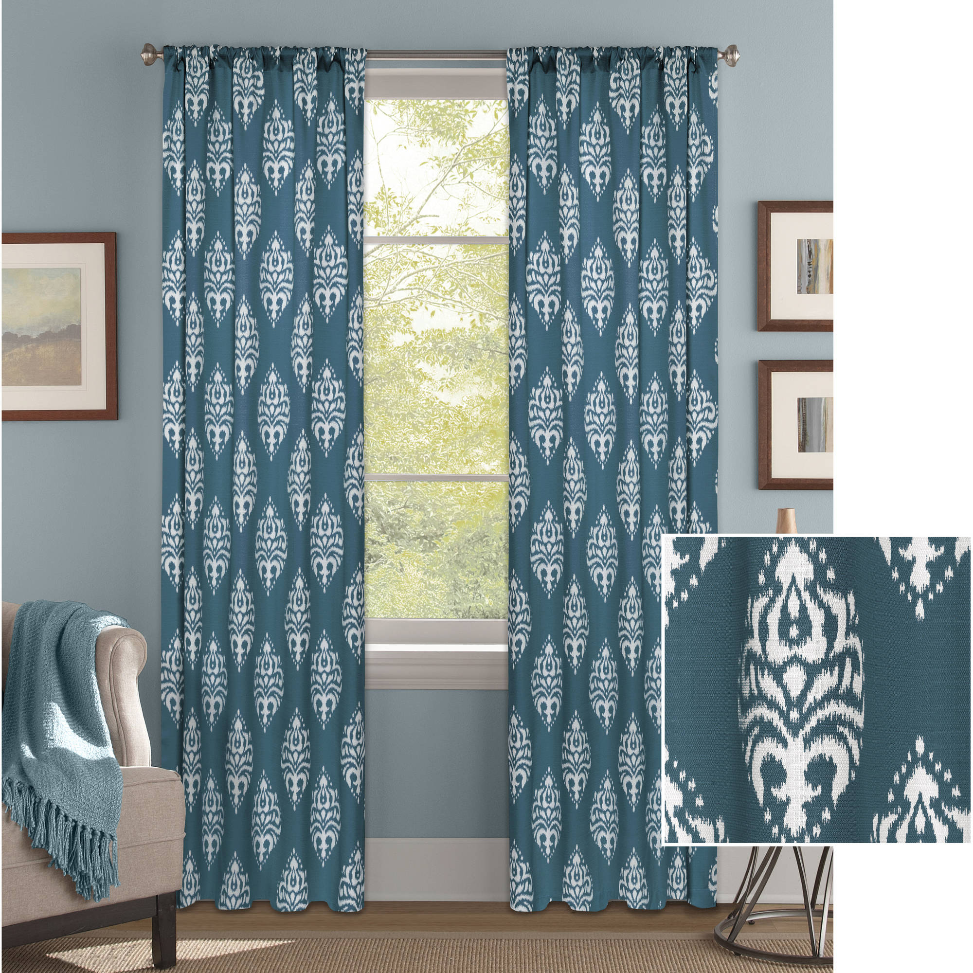 Better Homes And Gardens Traditional Damask Curtain Panel   Walmart.com