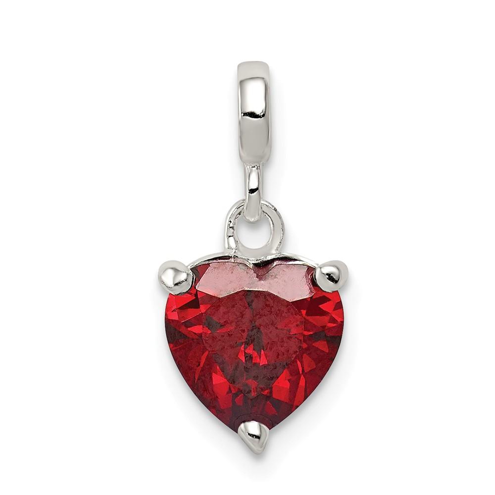 Sterling Silver Dark Red CZ Heart Enhancer