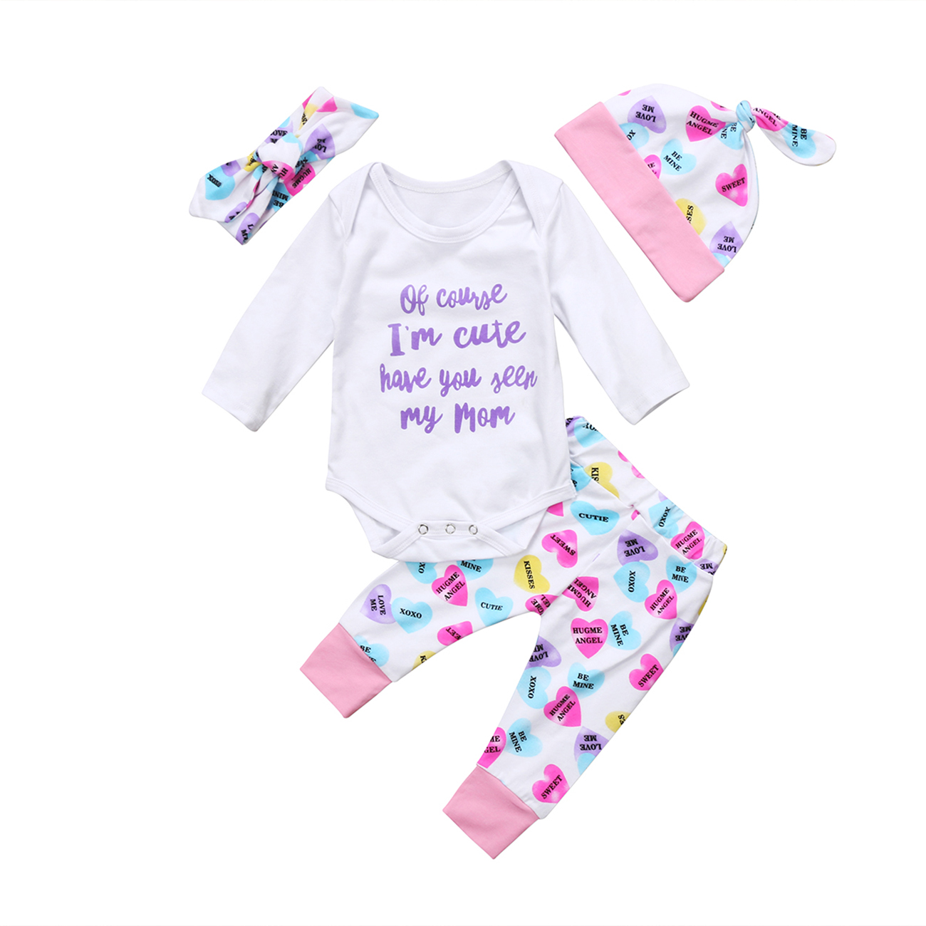 Newborn Baby Girls Winter Clothes Letter Print Romper Outfit Pants Set +Hat+Headband 4Pcs Sets