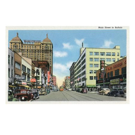 Buffalo, New York, View Down Main Street Print Wall Art By Lantern Press