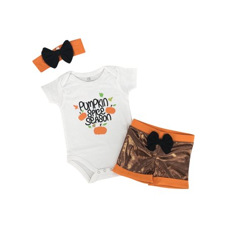 - Girls Pumpkin Spice Season Thanksgiving Layette Set (12 Months)
