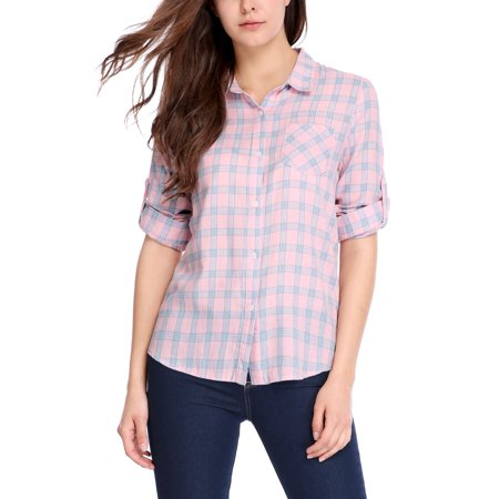 Women Convertible Sleeves Hi-Lo Hem Pocket Plaid