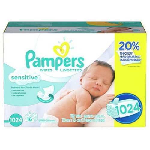 Pampers Baby Wipes, Sensitive, 1024 Count by Pampers