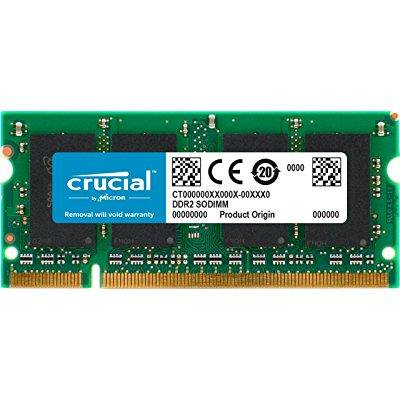 crucial 2gb single ddr2 800mhz (pc2-6400) cl6 sodimm 200-pin notebook memory module (Pin Sodimm Notebook Memory Module)