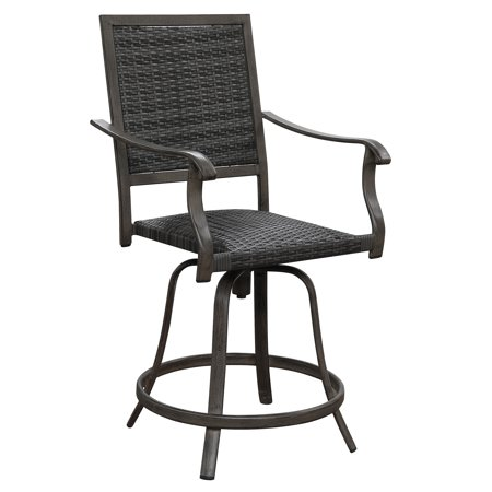 Cool Emerald Home Alderbrook Brown Gray 30 Outdoor Bar Stool With Swivel Base Aluminum Frame And Thick Woven Resin Wicker Set Of Two Squirreltailoven Fun Painted Chair Ideas Images Squirreltailovenorg