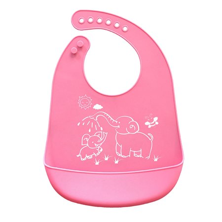Crumb Catcher Feeding Bib (Cartoon Prints Kids Silicone Bib Adjustable Waterproof Baby Feeding Apron Child Crumb Catcher )
