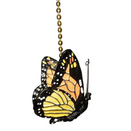 monarch Butterfly Ceiling Fan Pull Chain Ornament Decor, Butterflies features wire antenna By OTC (Ceiling Decor)