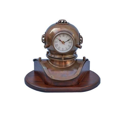 Handcrafted Nautical Decor 12'' Antique Brass Decorative Divers Helmet Clock on Rosewood (Brass Divers Helmet)