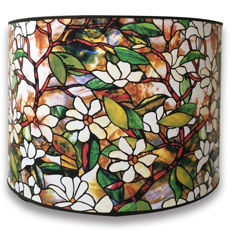 Stained Glass Shade - Royal Designs Modern Trendy Decorative Handmade Lamp Shade - Made in USA - Magnolia Stained Glass Design - 10 x 10 x 8