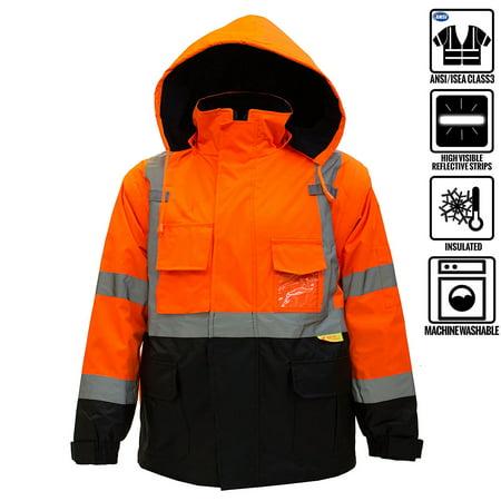 Men's Ansi Class 3 High Visibility Safety Bomber Jacket With Zipper, PVC Pocket, Black (Ansi Class 3 Jacket)